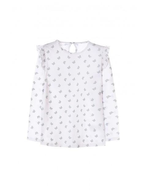 Biała bluzka dla dziewczynki w srebrne motylki