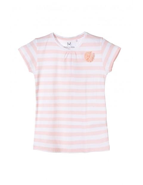 T-shirt dziewczęcy w biało-różowe paski.