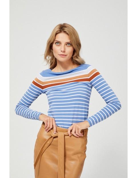 Niebieska bawełniana bluzka damska w kolorowe paski