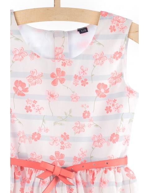 Sukienka dziewczęca biało-różowa z paskiem