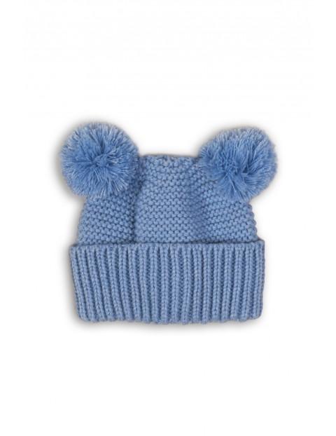 Czapka niemowlęca niebieska z pomponami