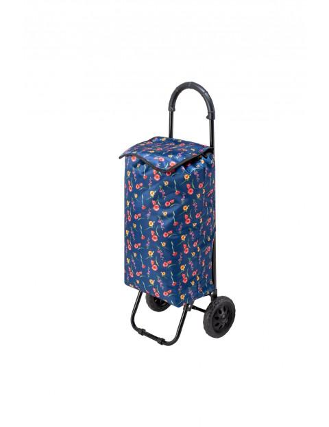 Wózek/torba na zakupy na kołach granatowa w kwiaty