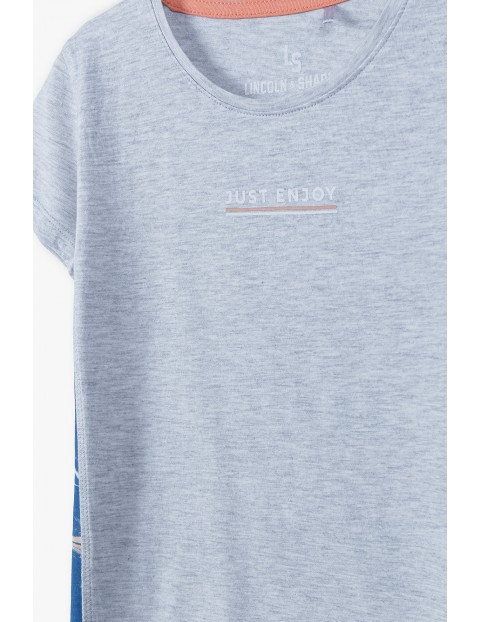 T-shirt dziewczęcy  z kolorowymi bokami - szary