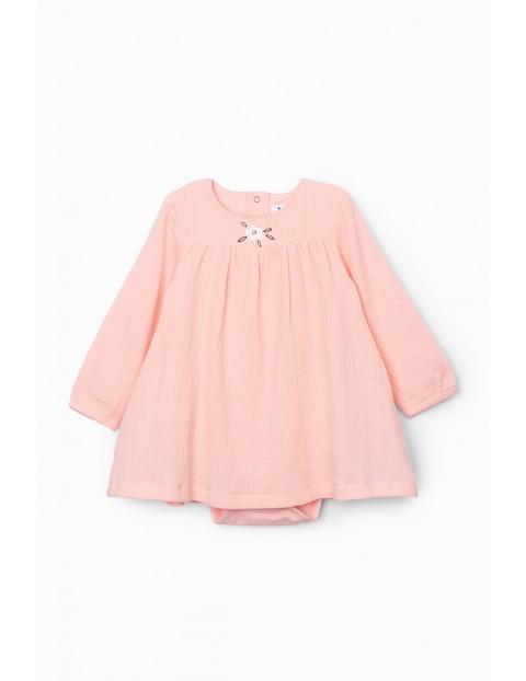 Body niemowlęce z bawełnianej tkaniny - różowe