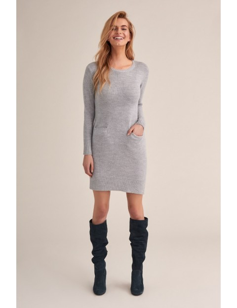 Sukienka damska z kieszonkami - szara