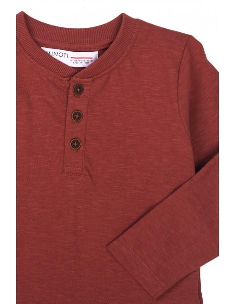 Bluzka niemowlęca bawełniana z guzikami bordowa