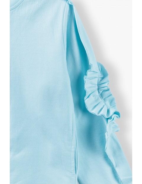 Bluza dresowa dziewczęca z marszczeniami na rękawach - niebieska