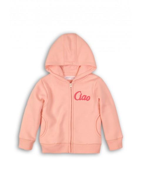 Bluza dziewczęca z kapturem i kieszeniami-różowa