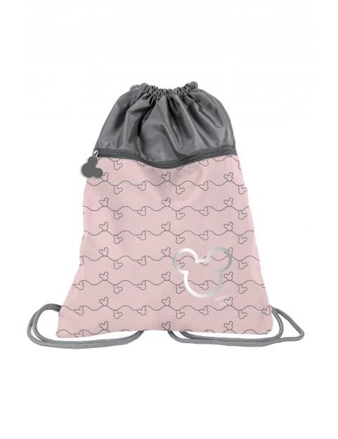 Worek na buty różowo-szary Myszka Minnie