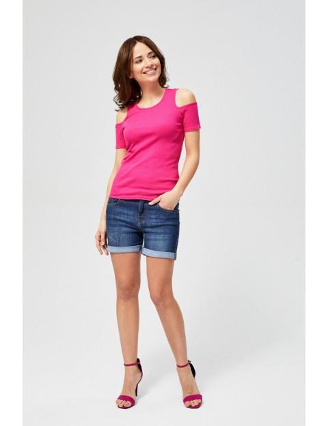 T-shirt damski typu cold arms- różowa