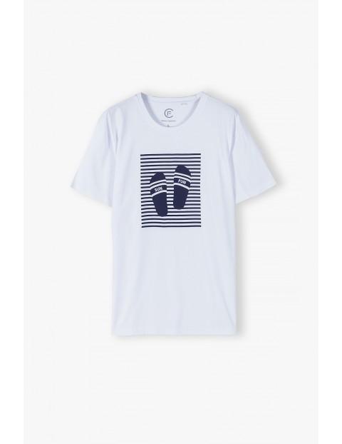 Bawełniany biały t-shirt męski - krótki rękaw - ubrania dla całej rodziny