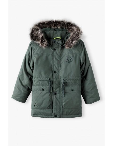 Płaszcz chłopięcy z kapturem w kolorze khaki