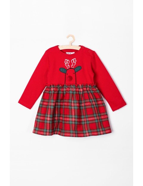 Sukienka niemowlęca z reniferem- czerwona