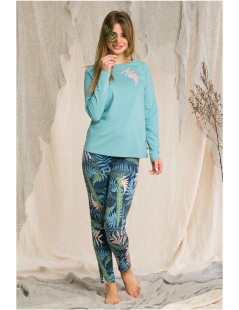 Piżama damska - zielona w liście