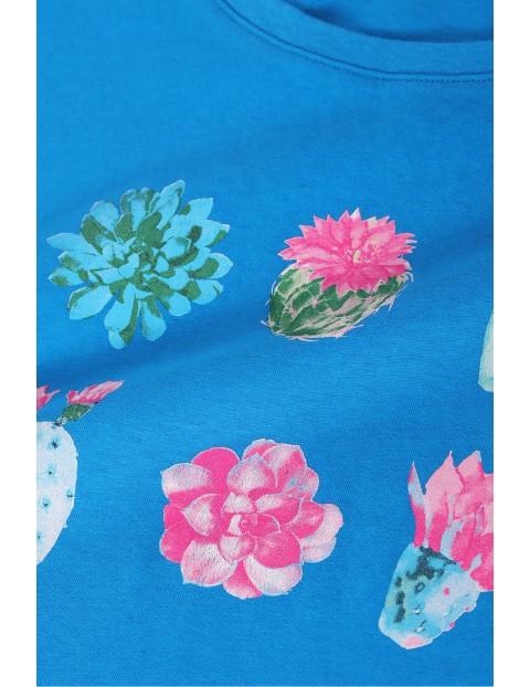 Bawełniany t-shirt damski z kaktusami - niebieski
