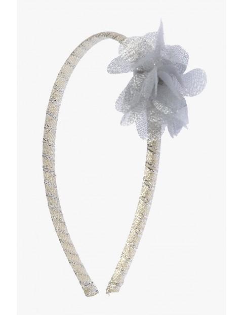 Opaska do włosów- srebrna z kwiatkiem