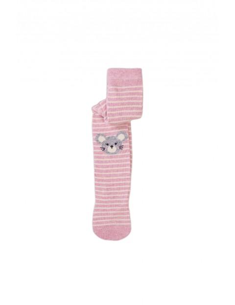Rajstopy dziewczęce- szaro-różowe we wzorki 2-pak