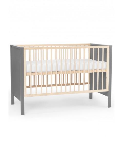 Łóżeczko drewniane z materacem MIA - szare