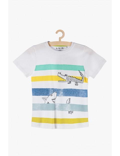 T-shirt chłopięcy biały w kolorowe paski- 100% bawełna
