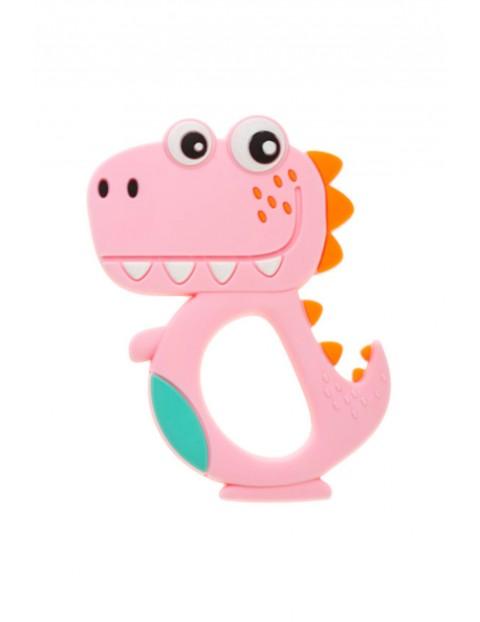 Gryzak silikonowy Dino - różowy wiek 0msc+