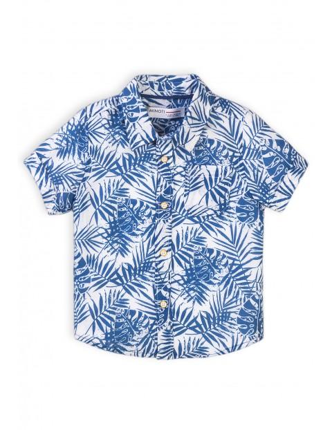 Koszula niemowlęca na lato- niebieskie liście