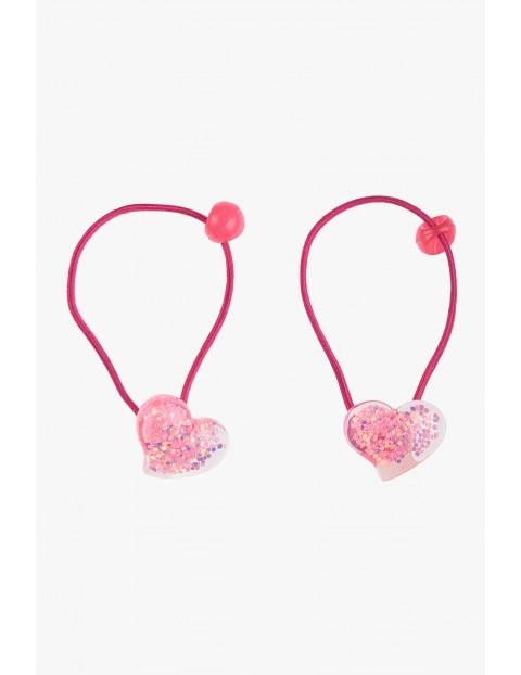 Gumki do włosów różowe serduszka 2 szt.