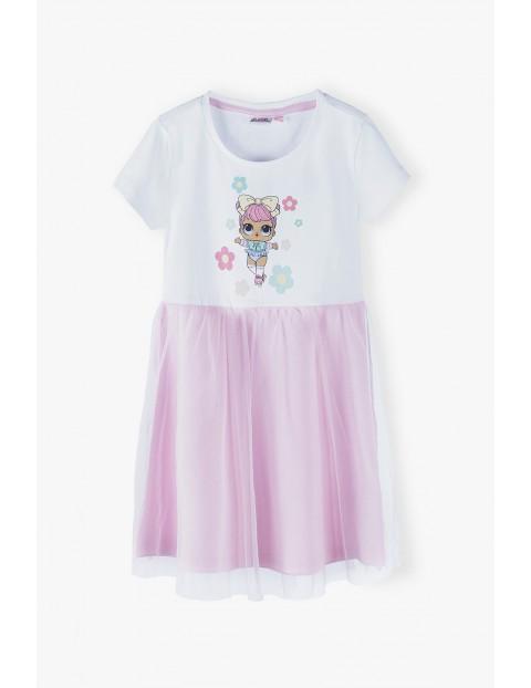 Sukienka dziewczęca LOL Surprise- biało- różowa