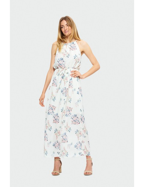 Długa sukienka wiązana na szyi- kolorowe kwiaty