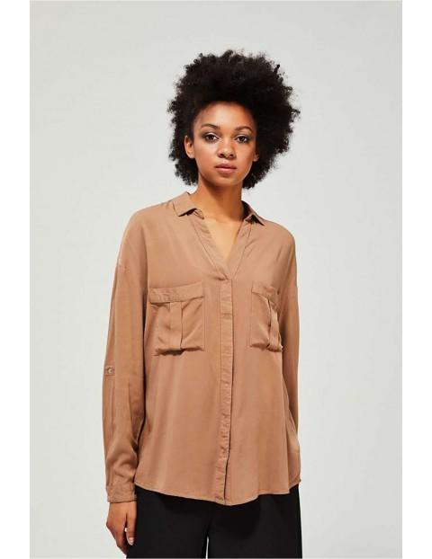 Koszula o asymetrycznym luźnym kroju - beżowa