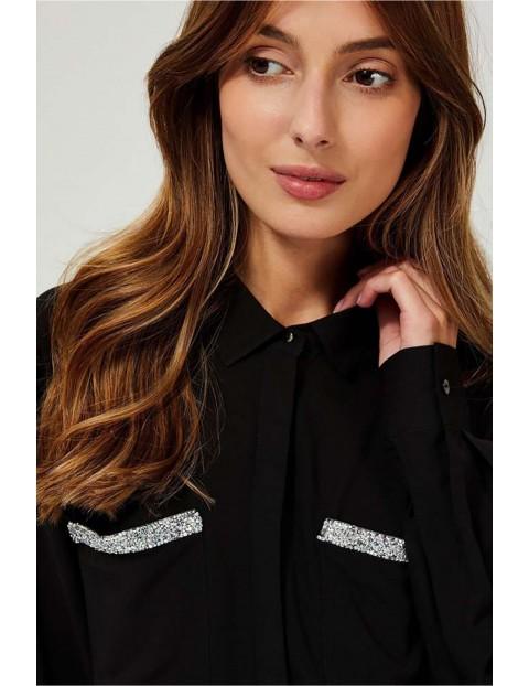 Koszula damska czarna z ozdobnymi kieszeniami