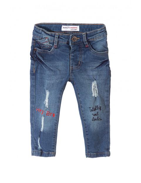 Spodnie niemowlęce jeansowe z nadrukami