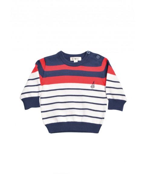 Sweterek dla niemowlaka w marynarskie paski