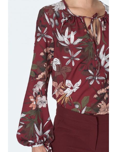 Bluzka damska w kolorze bordo z związaniem