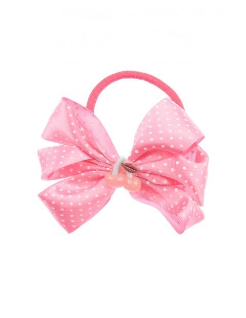 Gumka do włosów- różowa kokardka w białe kropki