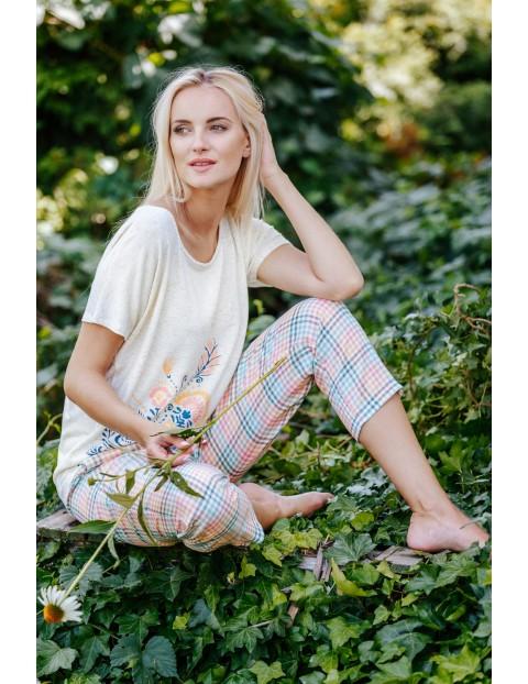 Piżamowy komplet z wiskozy - koszulka i spodnie w kratę
