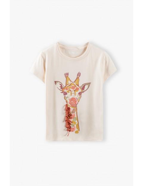 Bluzka dziewczęca z żyrafą - różowa