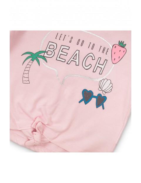 T-shirt dziewczęcy różowy z nadrukami- ozdobne wiązanie