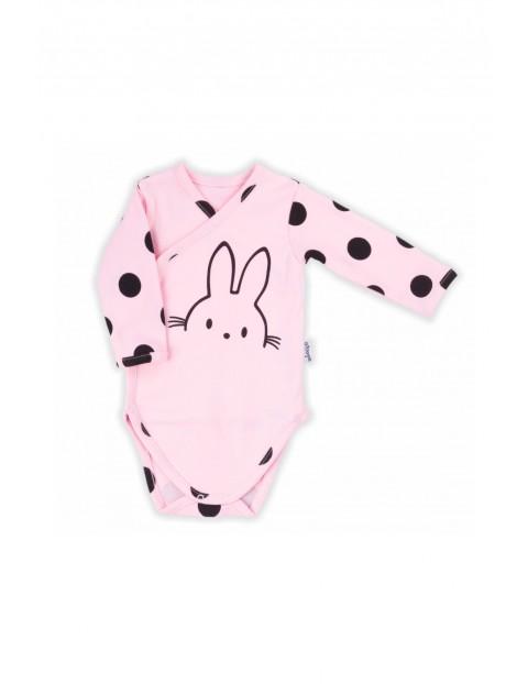 Bawełniane body kopertowe dla niemowlaka na długi rękaw- różowe