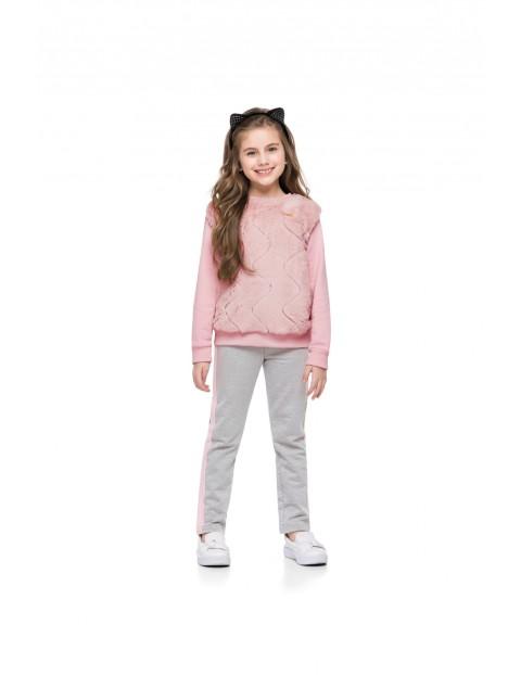 Komplet dziewczęcy- bluza dresowa  i spódnica różowa w gwiazdki