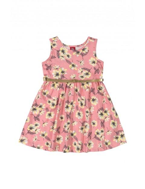 Sukienka dziecięca w kwiaty ze złotym paseczkiem - różowa