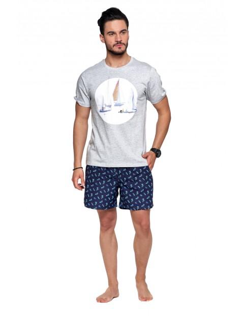 T-shirt bawełniany męski w marynarskim klimacie
