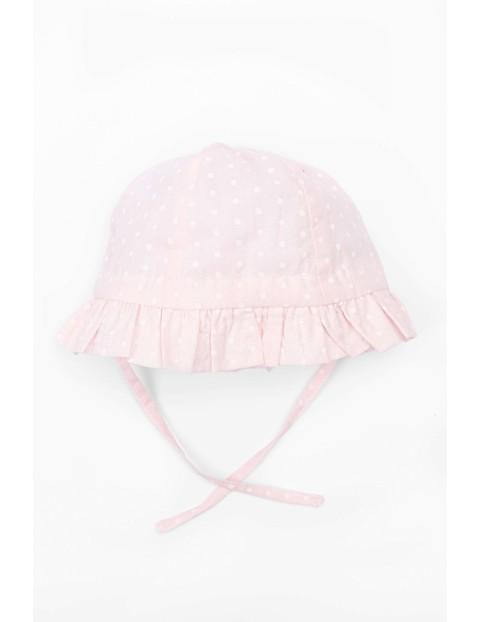 Różowy, wiązany kapelusz dla dziewczynki