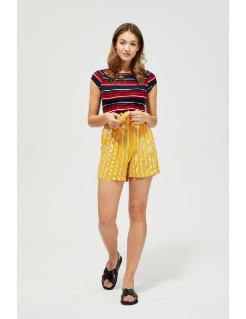 Szorty damskie żółte w paski z wiązaniem