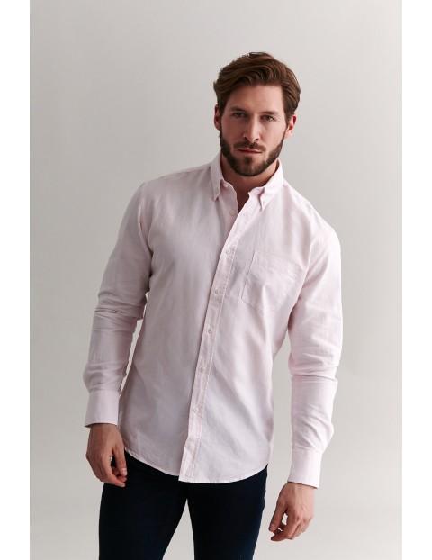 Bawełniana koszula męska z długim rękawem - różowa
