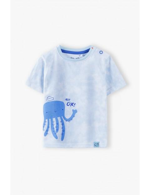 Niebieski T-shirt niemowlęcy z ośmiornicą- 100% bawełna