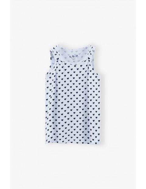 T-shirt  dziewczęcy w serduszka - biały