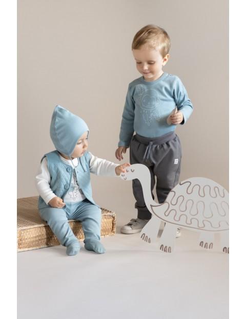 Bawełniana czapka niemowlęca wiązana SLOW LIFE - niebieska