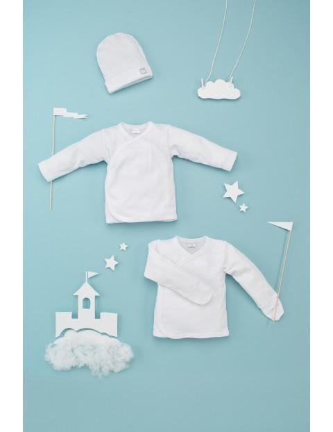 Kaftanik kopertowy niemowlęcy biały- bawełniany
