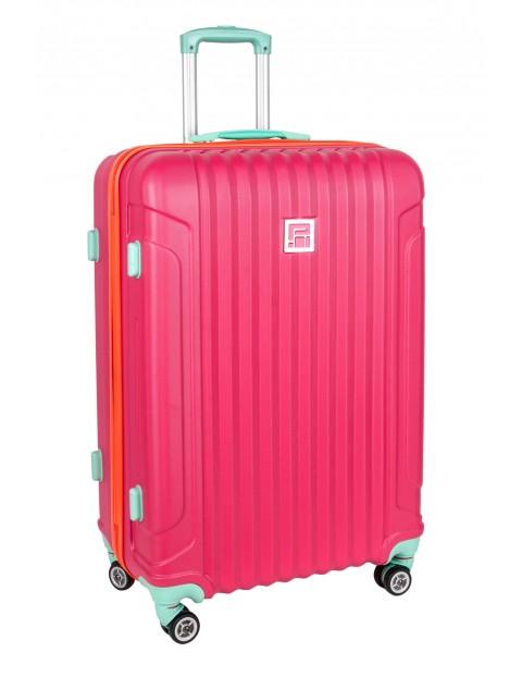 Duża walizka na kółkach PASO różowa 76×52×31cm