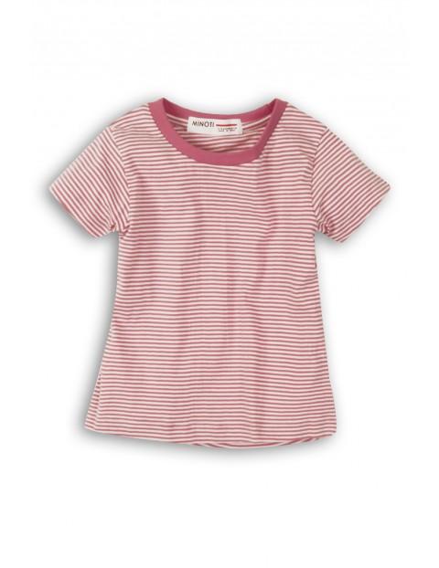 T-Shirt dziewczęcy fioletowo- białe paski